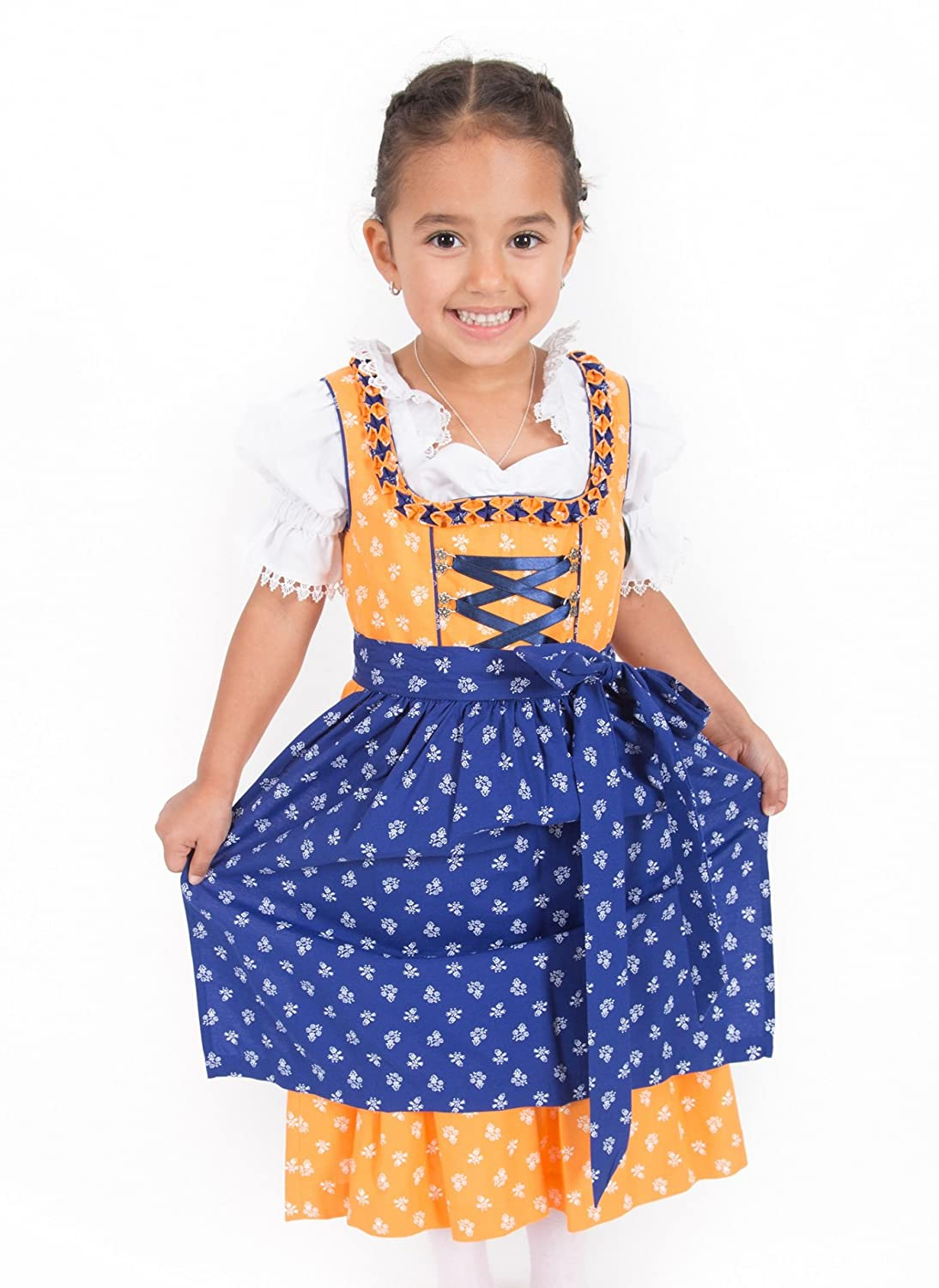 Kinderdirndl orange blau im Set 3 teilig