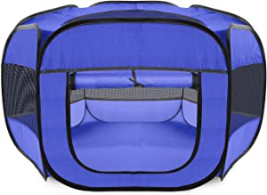 Paws & Pals Dog Playpen, Lightweight Portable Play Tent House for Indoor Outdoor Pet Exercise, Collapsible Pop Up Pen Fence with Removable Top & Travel Bag, Small-Med Dogs Cat Rabbit or Puppy