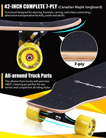 2pm Sports Longboard Complete Freestyle Skateboard with 9 ply Canadian Maple Wood: Amazon.es: Deportes y aire libre