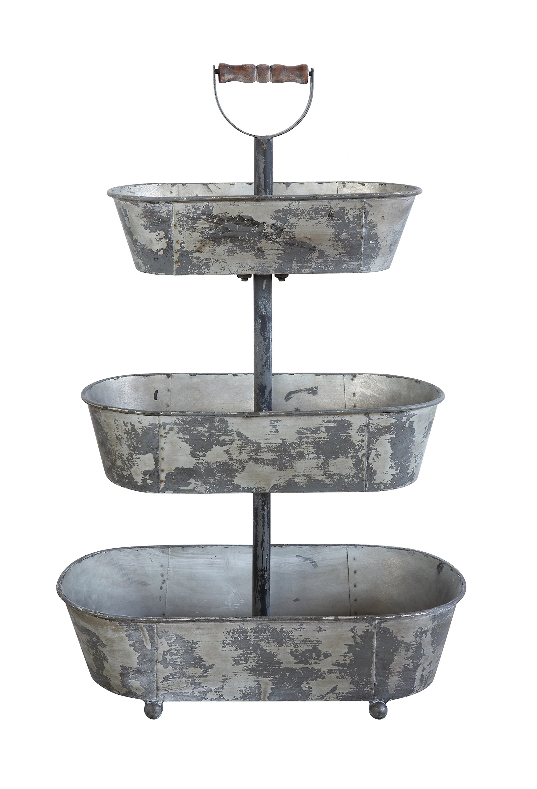 Creative Co-Op Metal 3 Tier Container with Wood Handle