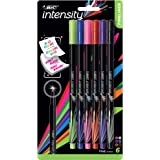 BIC Intensity Fineliner Fine Point Pens – Set of 6 Markers – Felt Tip, No Bleed for Writing, Adult Colouring, Art