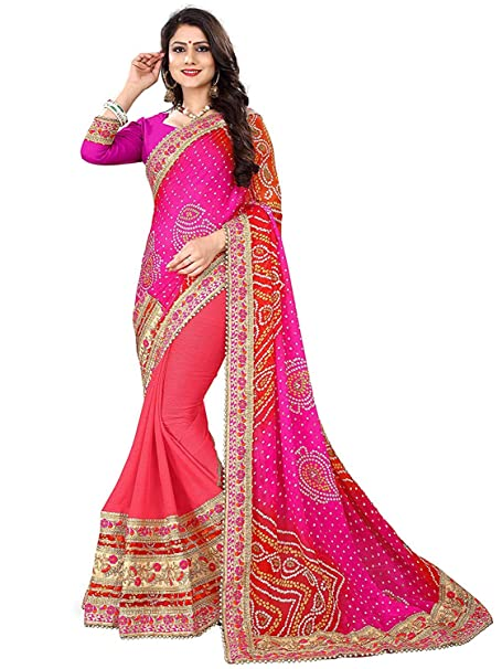 dcc596be3b Devika Fashion Women's Moss Rajasthani Bandhani Zari Lace New Heavy Work  Saree With Blouse (DF05_15001_Pink): Amazon.in: Clothing & Accessories