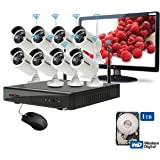 """ROBORIX 8 camera wireless wifi IP 8 channel NVR 1MP 720P HD CCTV Security camera kit (1TB +15.5"""" LED monitor included)"""