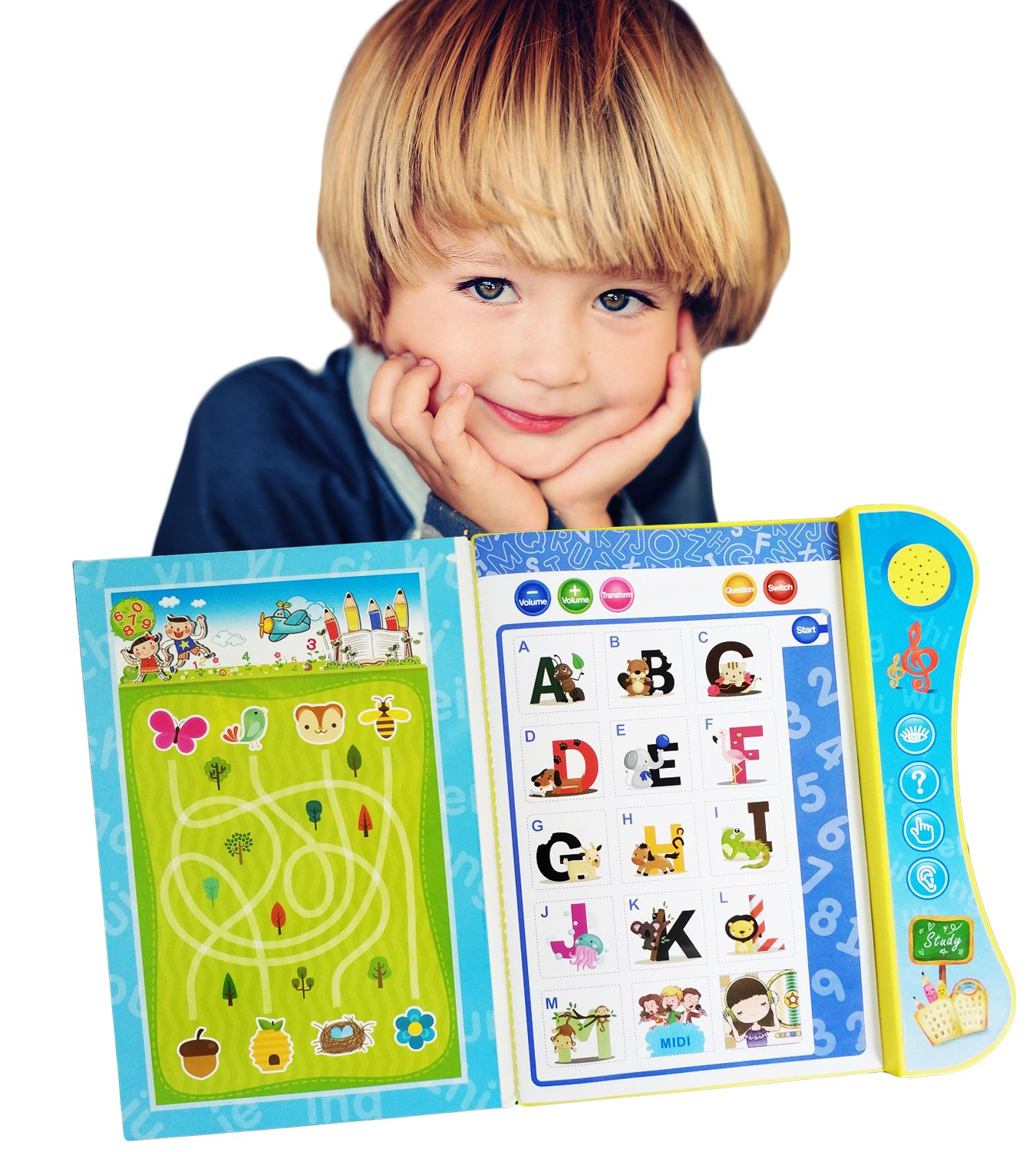 Wuao ABC Sound Book Touch Teach Lettets Words Learning Book, Fun Educational Toy, Learning Activities English Alphabet, Words, Numbers, Animals, Fruit, Vehicle Toddlers, Preschooler