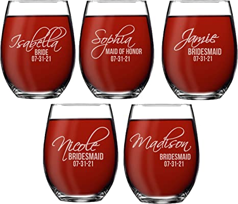 Bridal Party Gift Bridesmaid Gift Perfect for Wine Lovers Maid of Honor Gift Engraved Stemless Wine Glasses Personalized Wine Gift Set