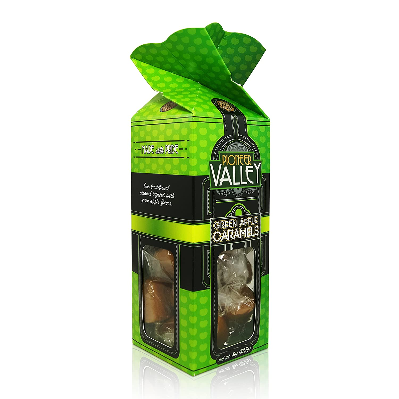Green Apple Caramels 8oz Box by Pioneer Valley (Soft, Premium, Gourmet, Artisanal)