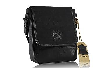 3e8cb5921b FERETI petit sac messenger homme en cuir noir avec lion 3D toile Sac  bandoulière Homme