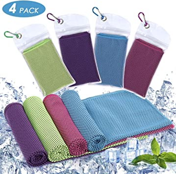 Diealles Shine 4 Pack Toalla de Hielo Fría Instantánea, Toalla de Deporte Refrescante para Gimnasio, Tenis, Yoga, 90 x 30 cm: Amazon.es: Deportes y aire libre