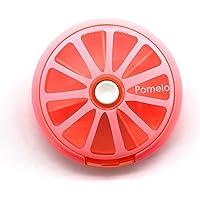 PuTwo Pastillero con bandeja redonda para 7 días, dispensador de almacenamiento de vitaminas y medicinas, Pomelo Pink, 2.89 Ounce