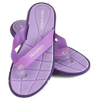 Aqua Speed BALI Badesandalen (Frauen Zehentrenner Anti-Rutsch-Struktur Schwimmbad Badeurlaub Garten Swimmingpool + UP®-Schlüsselband), Farbe:Violett;Schuhgröße:36