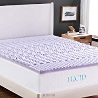 LUCID 2 Inch 5 Zone Lavender Memory Foam Mattress Topper - Full XL