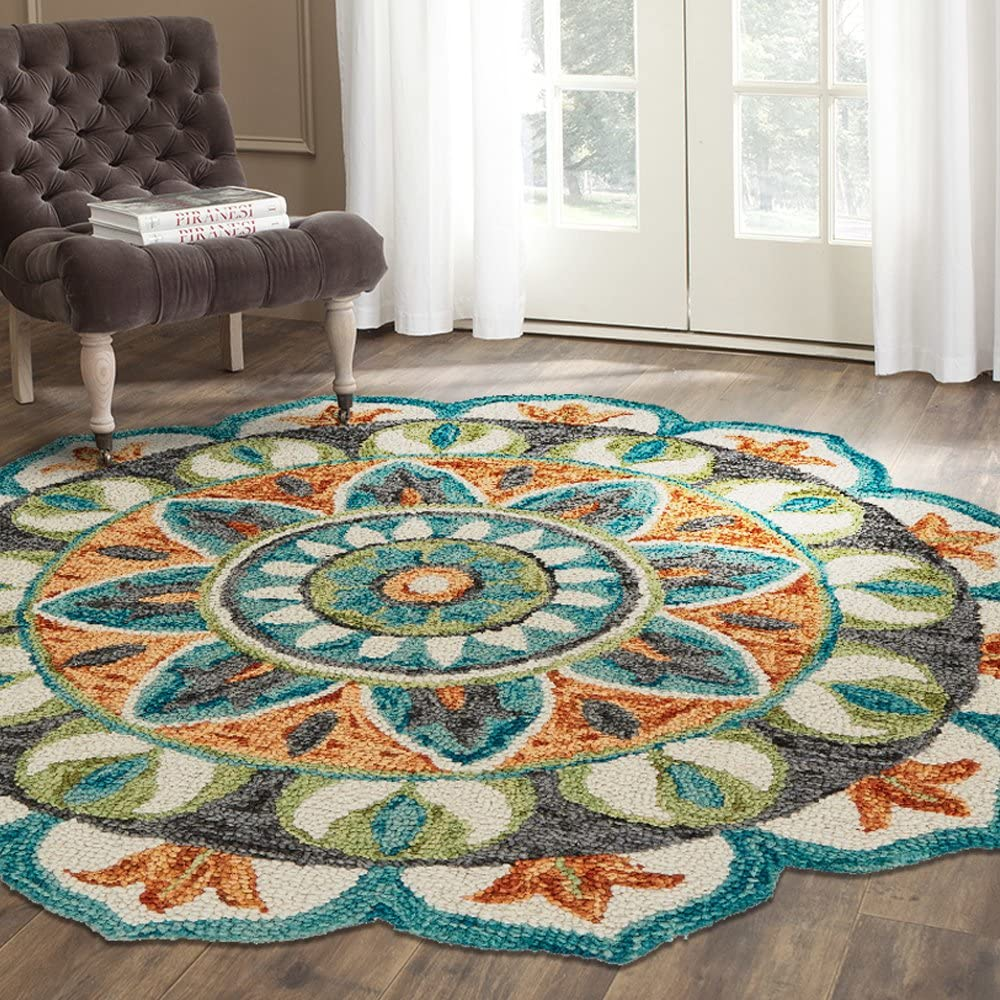 Amazon Com Lr Home Dazzle Area Rug 6 Round Teal Green Furniture Decor