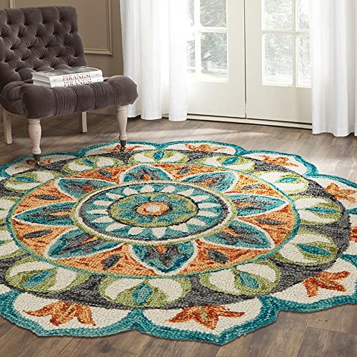 LR Home Dazzle Area Rug, 6 Round, Teal Green