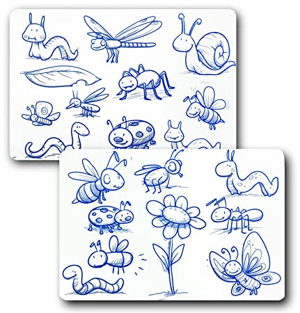A+ Kids - Set of 2 Reusable and Washable Silicone Coloring Placemats ...