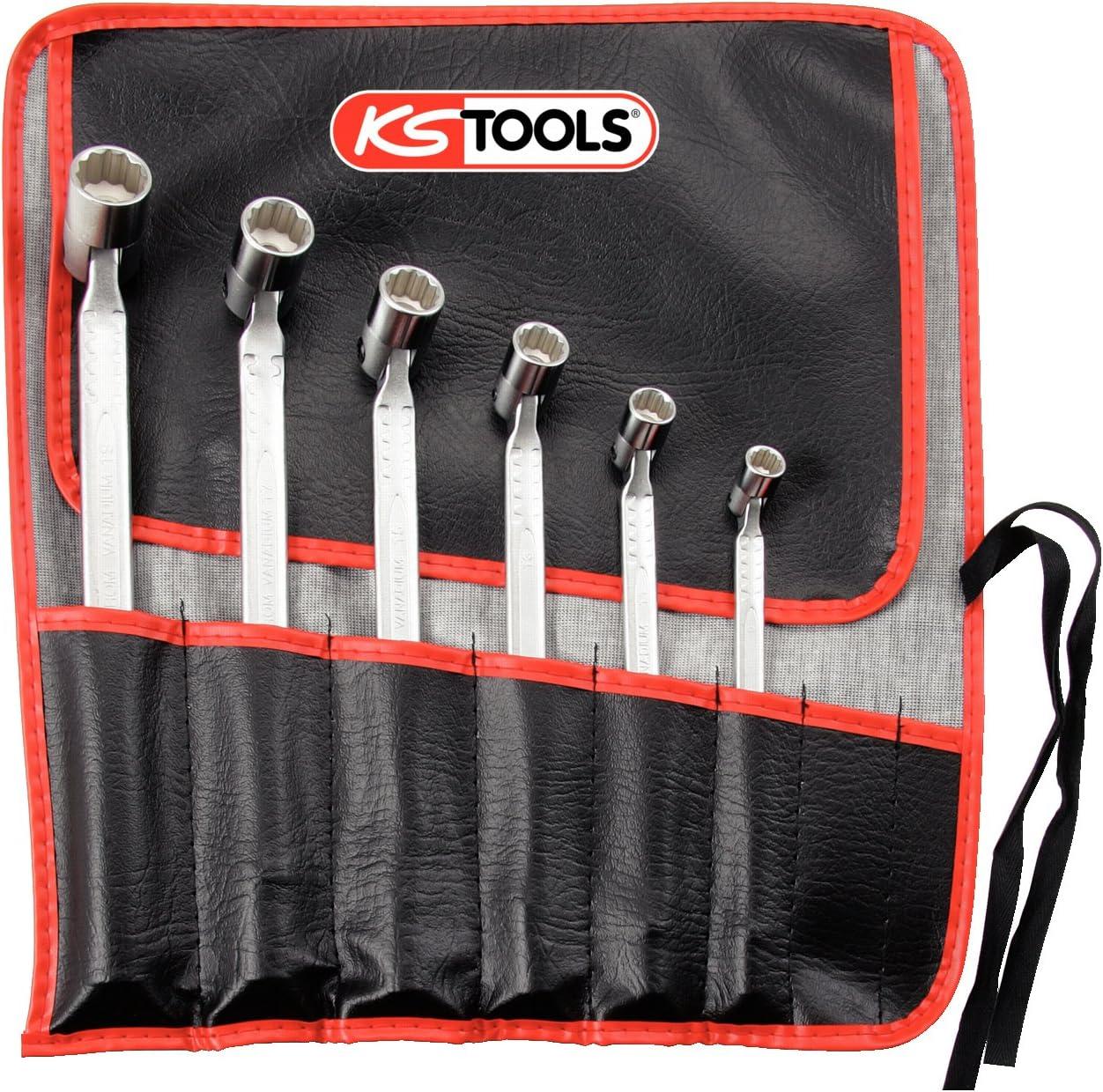KS Tools 517.0310 Pack Llaves articuladas Dobles, en Bolsa Enrollable, Gran Radio de rotación (tamaño: 8x9-18x19 mm), Set de 6 Piezas