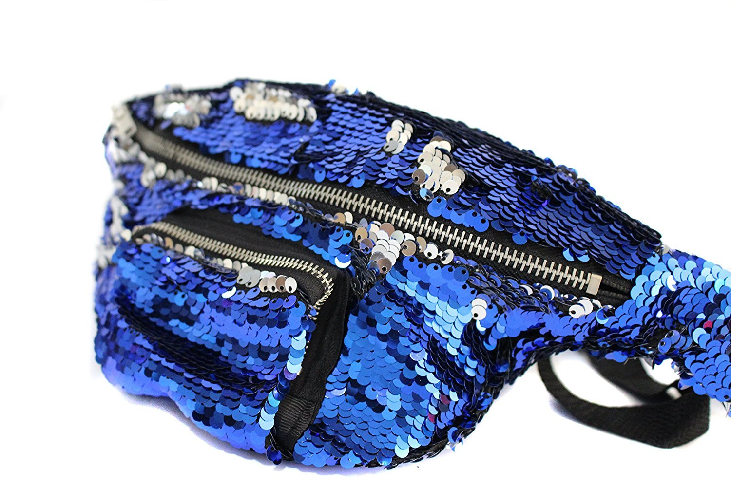 YAMATE Waist Pack, Unisex Mermaid Flake Fanny Purse Hip Bag for Outdoors Workout Traveling Casual Running Hiking Cycling (Dark Blue/Silver) by YAMATE