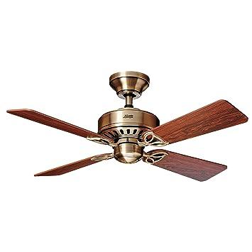 Hunter Fan Bayport Ventilador de techo, 58 W, Acero Inoxidable, 3 Velocidades, Latón Antiguo