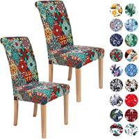 Colorxy Spandex Chair Covers for Dining Room Set of 2, Stretch Printed Chair Protectors Covers, Removable and Washable…