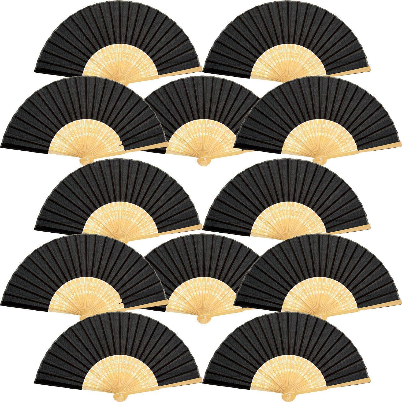 12 Piezas de Abanicos de Mano Abanicos Plegables de Bambú Seda para Regalo de Boda de Iglesia, Favores de Fiesta, Decoración de DIY (Negro)