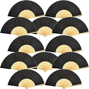 12 Piezas de Abanicos de Mano Abanicos Plegables de Bambú Seda ...