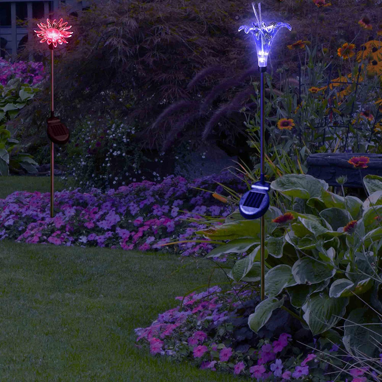 amazoncom solar flower lights holiday decoration color changing sunflower lily flower for outdoor garden patio decor by solarduke patio lawn u0026 garden - Solar Yard Lights