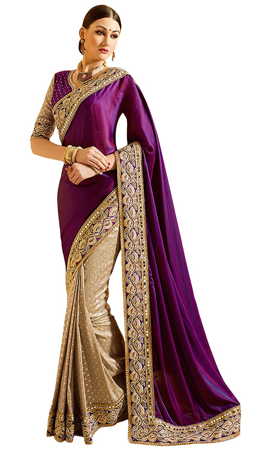 Beautiful Jacquard and Satin Women Sari Indian Border Work Saree Ethinc Wear Swara
