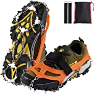 Xflyee Traction Cleats Ice Snow Grips with 19 Spikes for Walking, Jogging, Climbing and Hiking