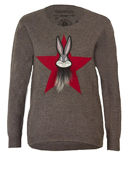 Frogbox Damen Bugs Bunny Star Pullover in Mink, Größe:38
