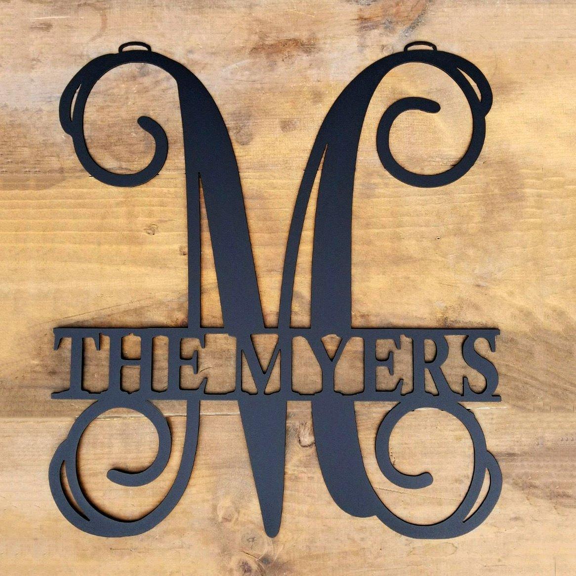Amazon.com: Personalized Metal Monogram Letter, Customized Door ...