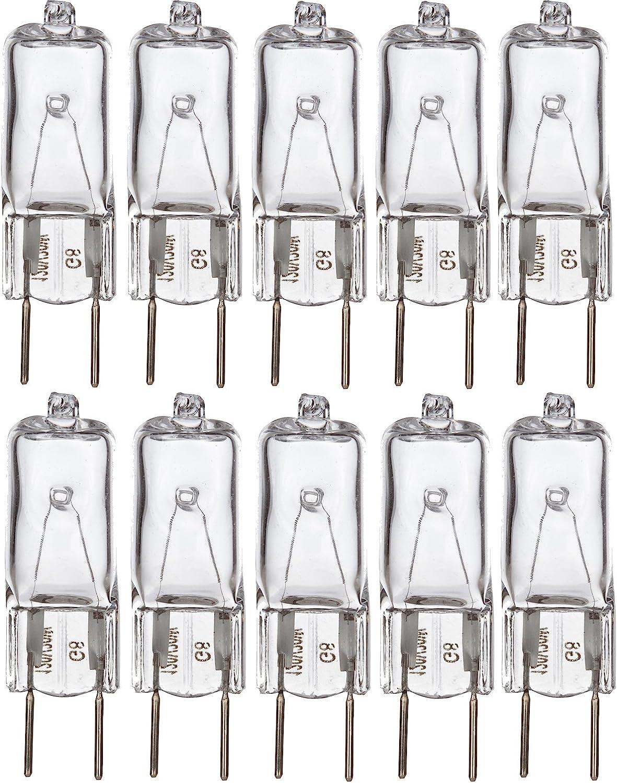 """Simba Lighting Halogen Light Bulb G8 T4 35W JCD Bi-Pin (10 Pack) Longer 1.75"""" Length for Kitchen Hood, Landscape Lights, Desk and Floor Lamps, Wall Sconces, 120V Dimmable, 2700K Warm White"""