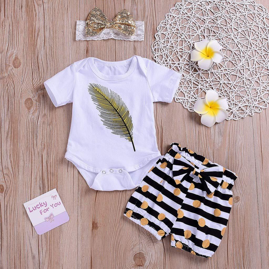 Sameno Fashion Toddler Baby Short Sleeve Feather Romper+Stripe Shorts+Headbands Set Outfit