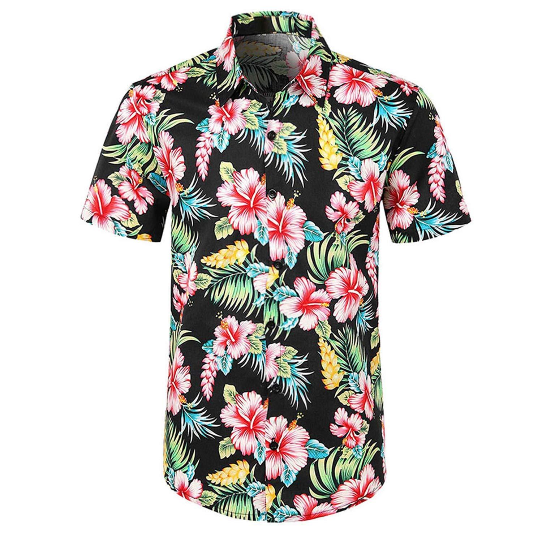 Men Shirt Casual Printed Button Down Short Sleeve Shirt Hawaiian Tops Blouse Streetwear Shirts