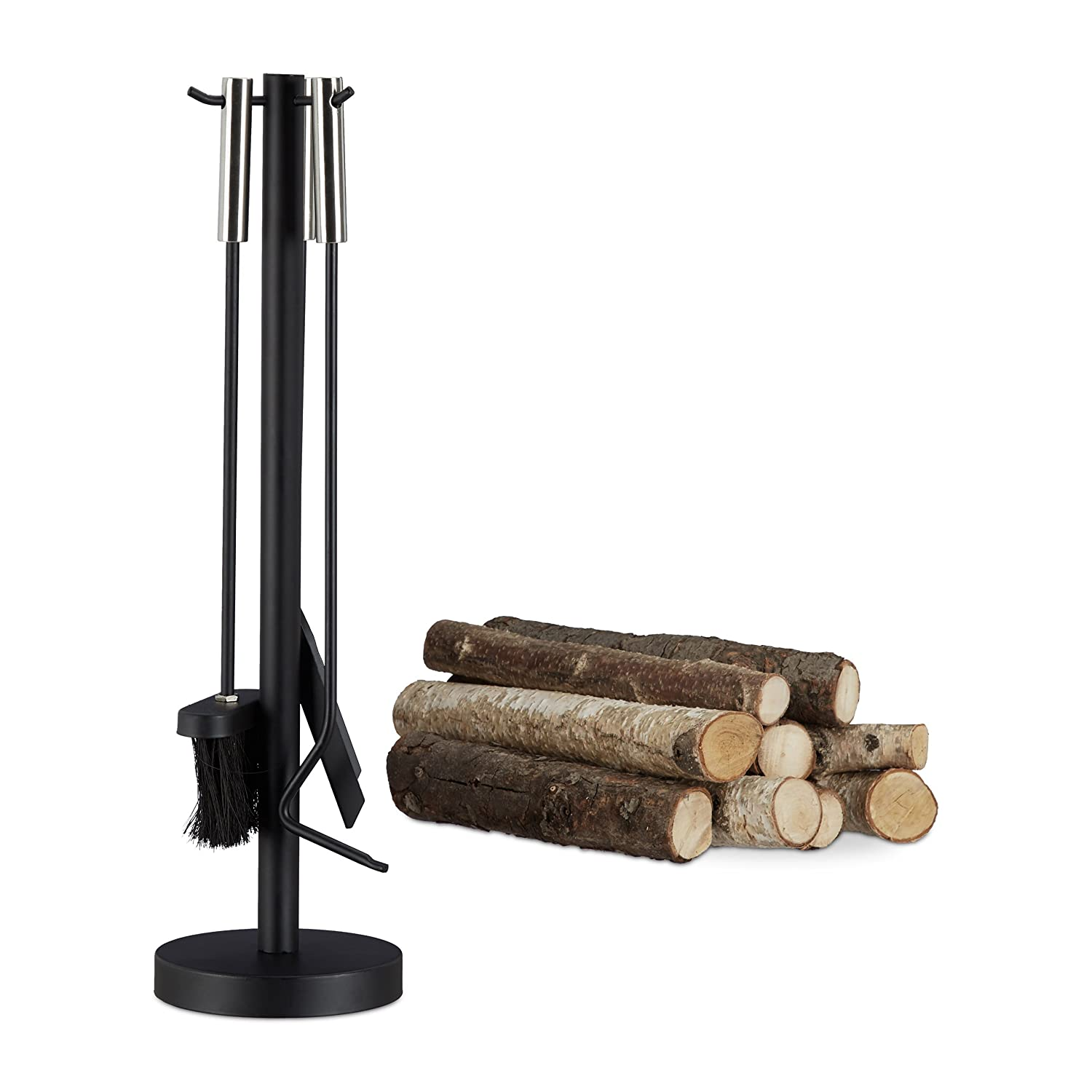 Relaxdays Modern Steel Fire Irons. 4-Piece Fireplace Companion Set with Shovel, Broom, Poker and Rack, Black 10022295