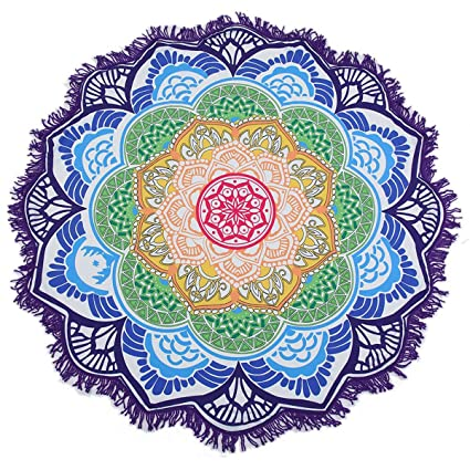 d805352a9c66d Image Unavailable. Image not available for. Color: Blackblume Indian  Tapestry Lotus Printed Round Bohemian Beach ...