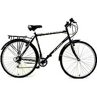 """Classic - Bicicleta de barra alta (neumáticos 700C y llanta de 22""""), color negro"""
