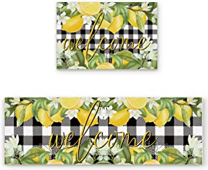 2 Pcs Kitchen Mats Runner Rug Set Anti Fatigue Standing Mat Rubber Backing Welcome Summer Lemon Black and White Buffalo Plaid Print Washable Floor Mat Area Rug for Home/Office 15.7