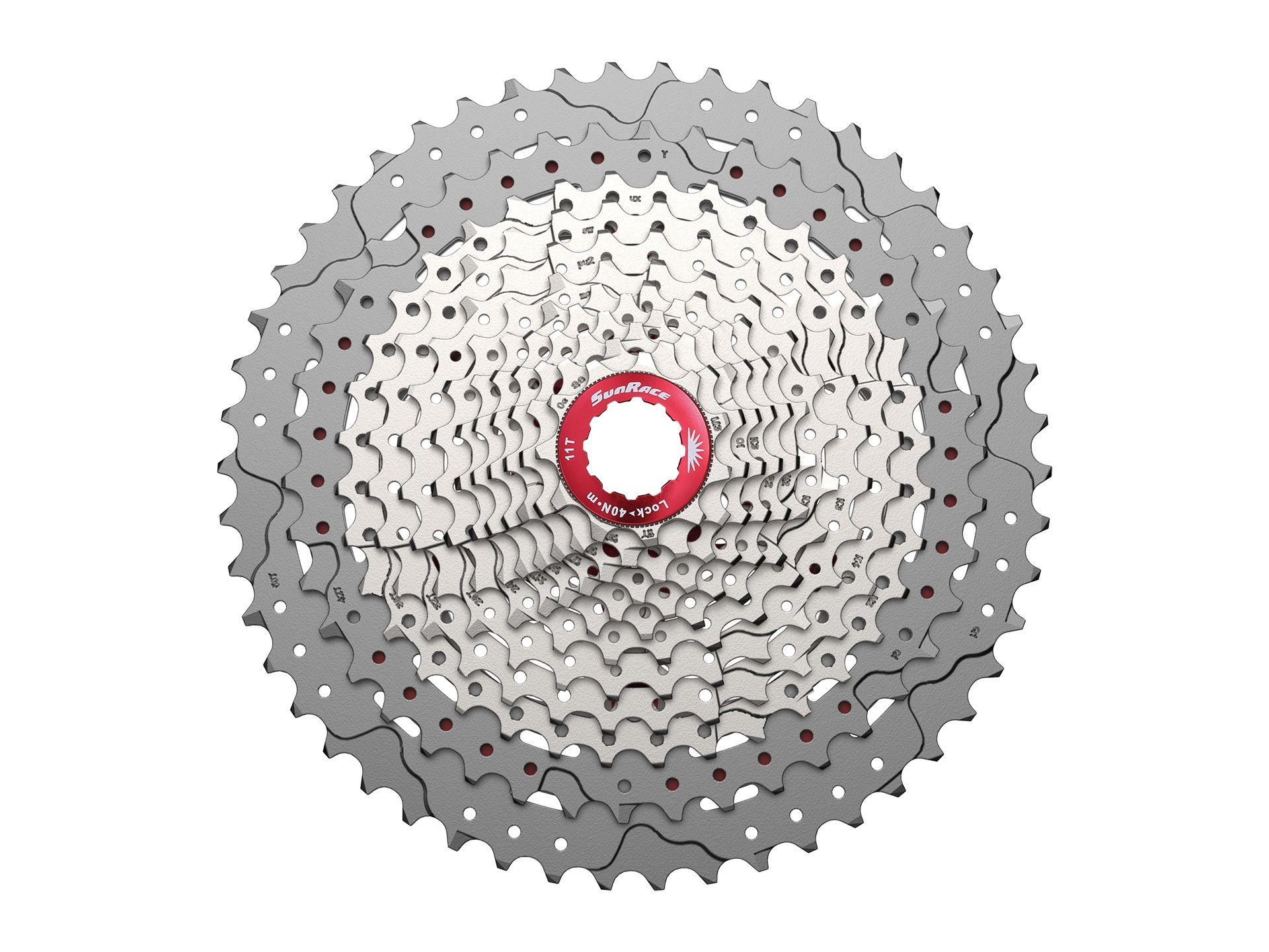 Sunrace 12-speed 11-50T cassette freewheel CSMZ90 WA5 wide ratio MTB in Silver with rear derailleur extender by JGbike