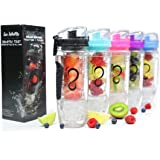 Live Infinitely 32 oz. Infuser Water Bottles - Featuring First Ever Gel Freezer Ball Infusion Rod, Flip Top Lid, Larger Dual Hand Grips & Recipe Ebook Gift