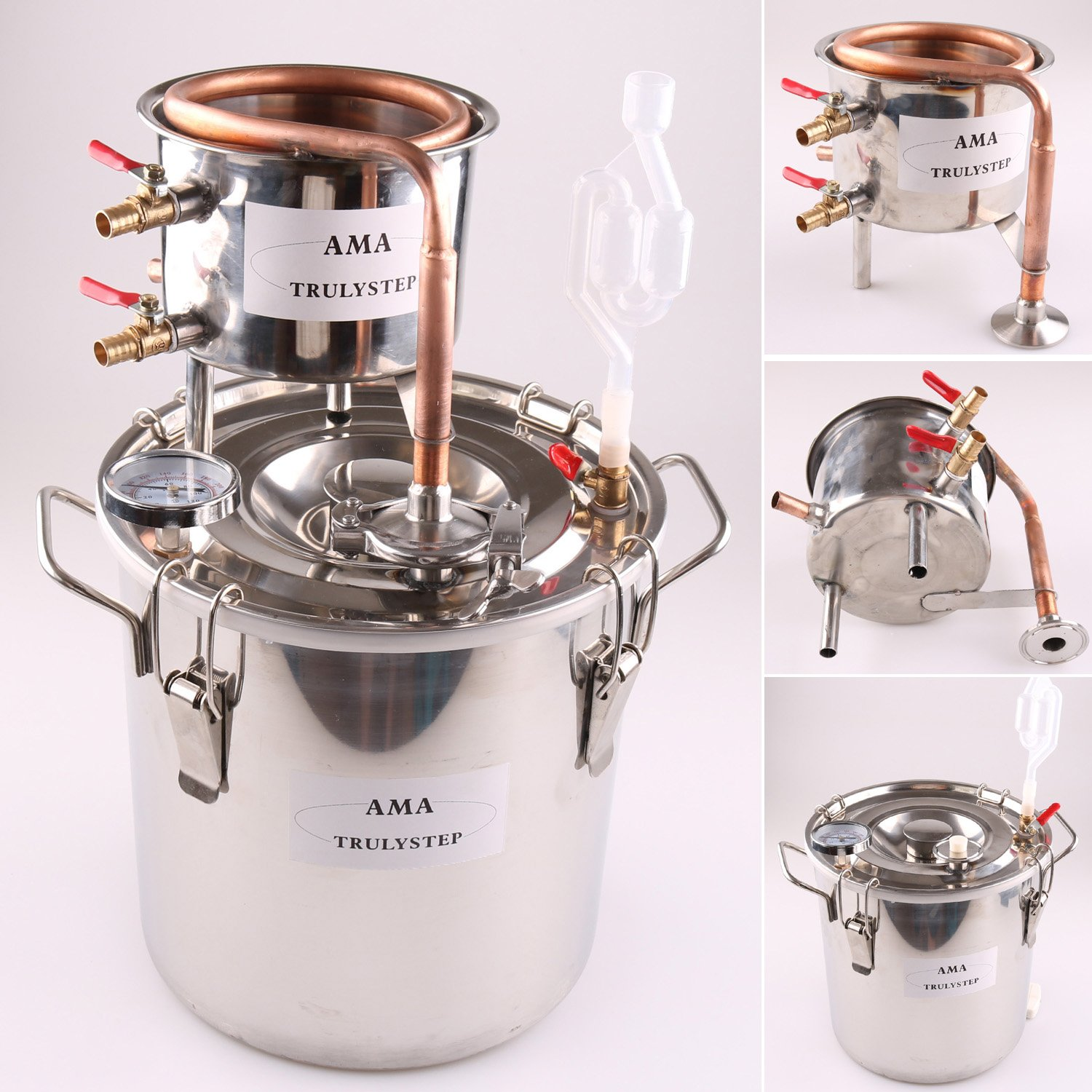 DIY 3 Gal 12 Liters Home Distiller Moonshine Alcohol Still Stainless Boiler Copper Thumper Keg by WMN_TRULYSTEP