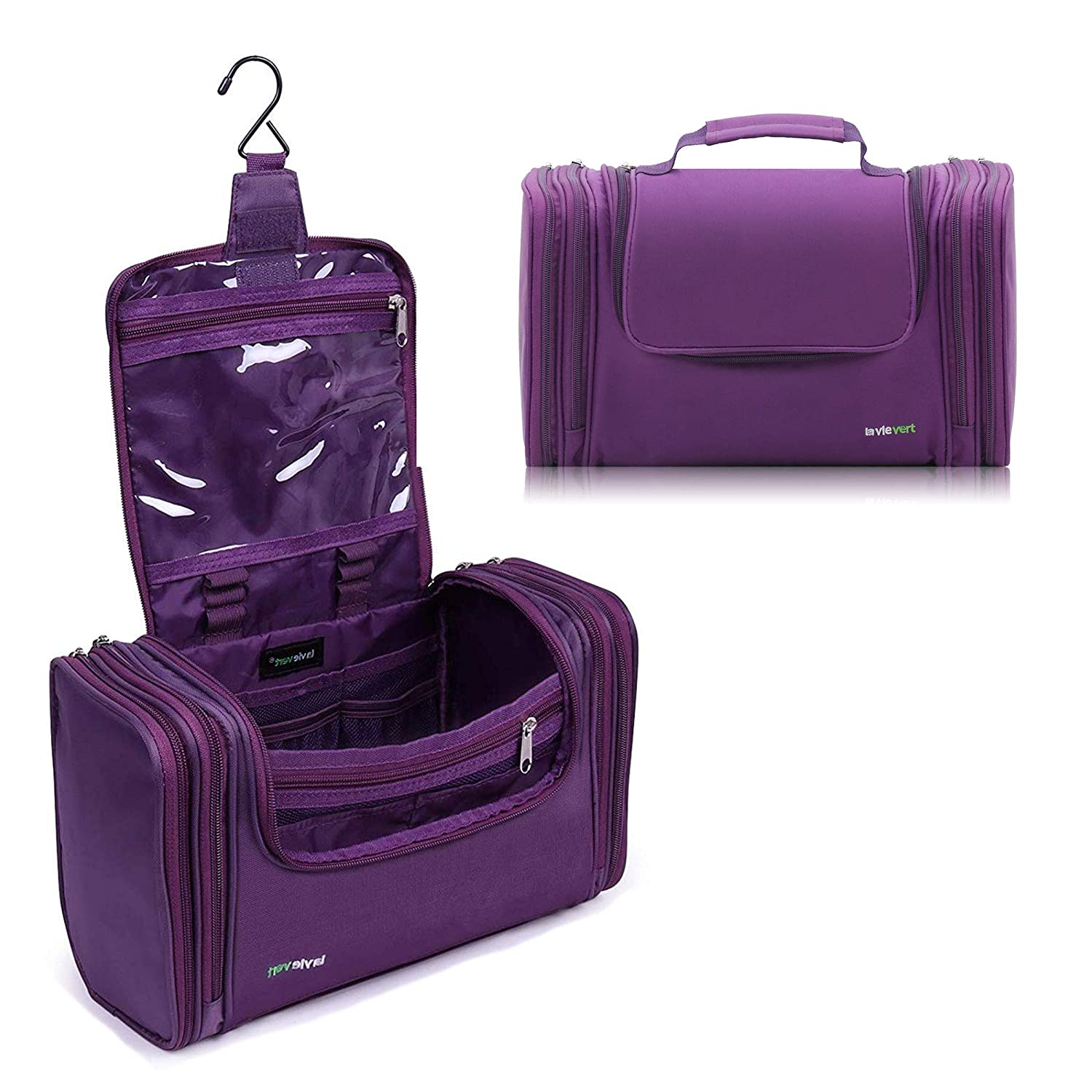 Lavievert Toiletry Bag / Makeup Organizer / Cosmetic Bag / Portable Travel Kit Organizer / Household Storage Pack / Bathroom Storage with Hanging for Business, Vacation, Household -Purple