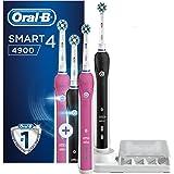 Oral-B Smart 4 4900 Spazzolini Elettrici Ricaricabili, Confezione da 2 Pezzi, Rosa e Nero