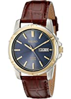 Seiko Men's Two-Tone Leather Strap Blue Dial Solar Watch