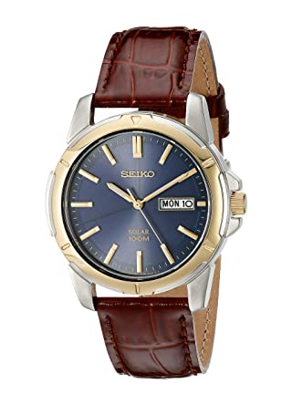 a825c97c48ab Amazon.com  Seiko Men s SNE102 Stainless Steel Solar Watch with Brown Leather  Strap  Seiko  Watches
