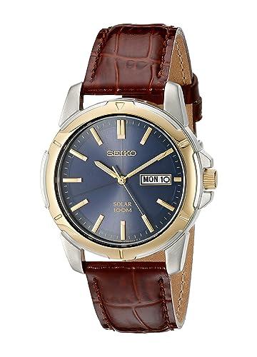 Amazon.com: Seiko SNE102 Reloj solar en acero inoxidable con ...