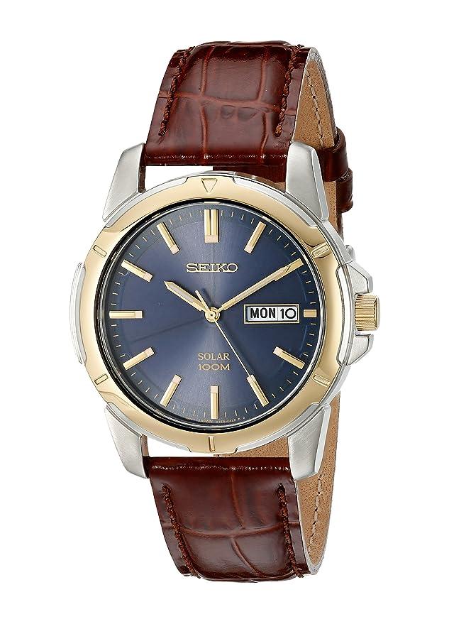 Seiko De los Hombres SNE102 Reloj Solar de Acero Inoxidable con Correa de Piel Color marrón: Seiko: Amazon.es: Relojes