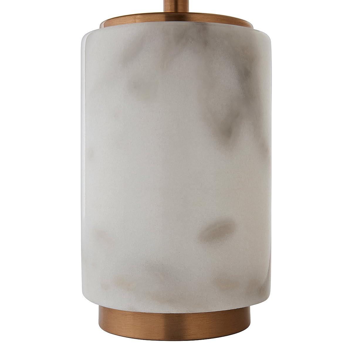 "Rivet Modern Marble Mini Lamp With Bulb, 14"" H, White Marble, Brass"
