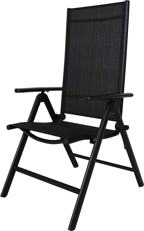 Chicreat - Silla de camping plegable de aluminio con respaldo alto (negro)
