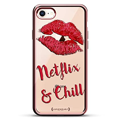 NETFLIX & CHILL DESIGN CHROME SERIES CASE IN ROSE GOLD FOR IPHONE 7