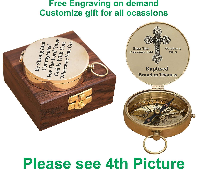 DeキューブWorking真鍮コンパス洗礼ギフト、真鍮少年確認ギフト洗礼ギフト、少年、Personalized Engravedコンパスコンパス、コンパス、洗礼コンパス、刻印ギフト