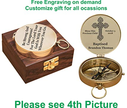 dcd281eceebfe Amazon.com: customized baptism present, engraving on working compass ...
